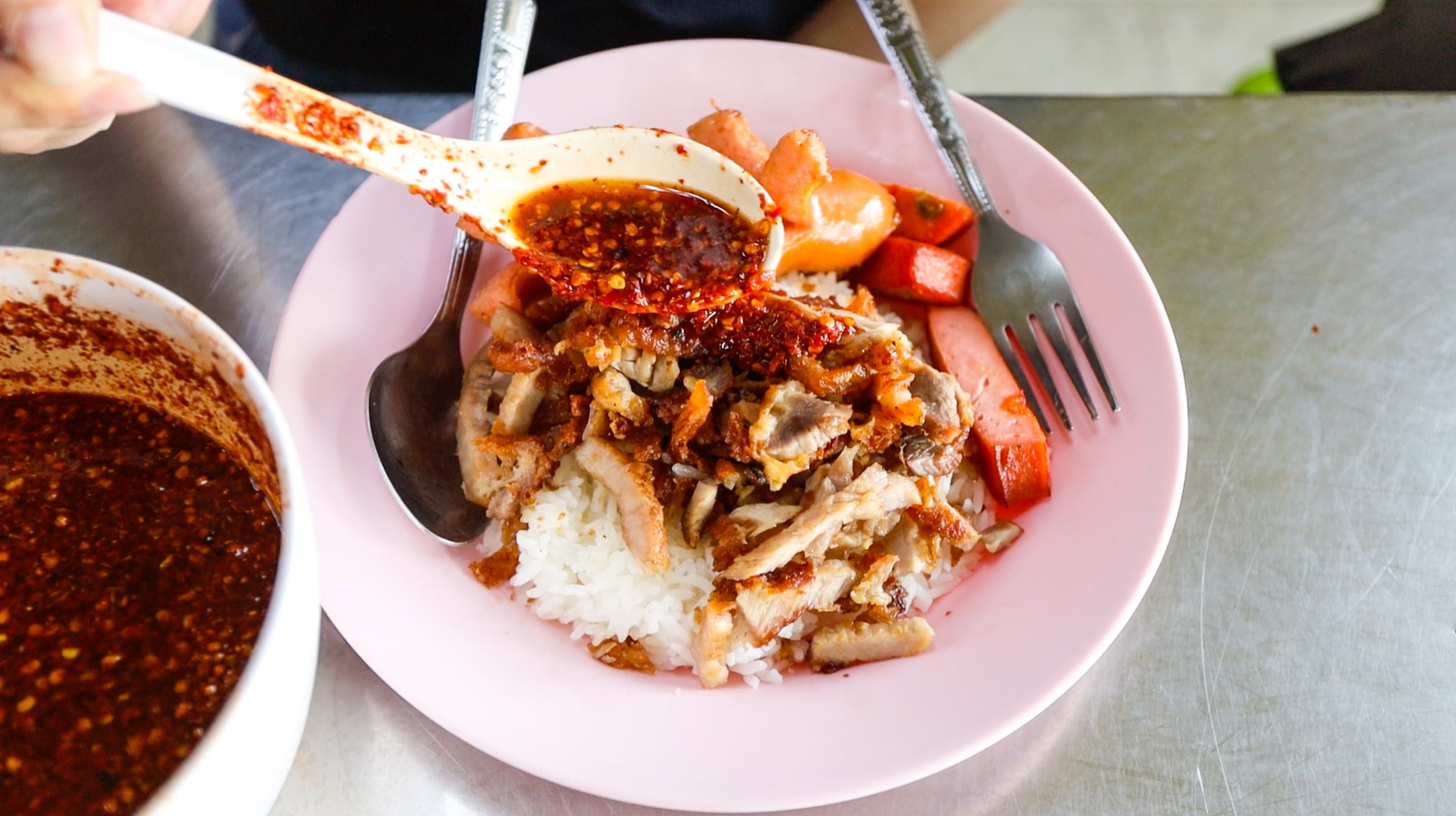 Red Chili Fish Sauce On Fried Pork Rice Moo Tod Jeh Jong