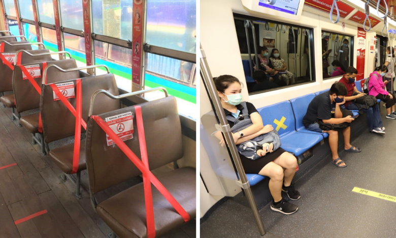 Photo of Bangkok Encourages Social Distancing On Its Public Transport By Taping Stickers On Seats