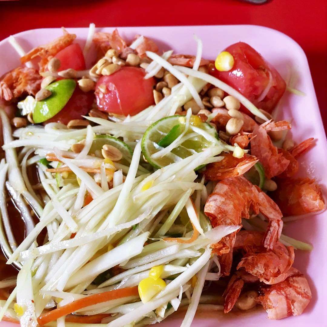 papaya salad with dried shrimps, lime and chilli flakes