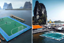 Photo of Thailand Has A Floating Soccer Pitch Built By Its Own Islanders Overlooking The Azure Waters