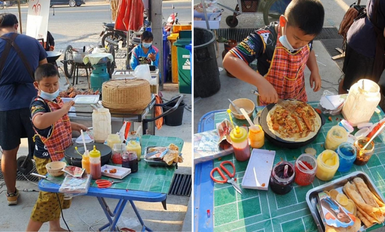 Photo of 9-Year-Old Boy Learns to Make Crepes From Youtube & Sell Them to Aid Family's Income